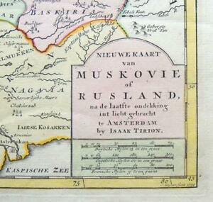 1734 RUSSIA Isaak Tirion MAP Hand Colored Engraved Russian Empire Moscow Crimea
