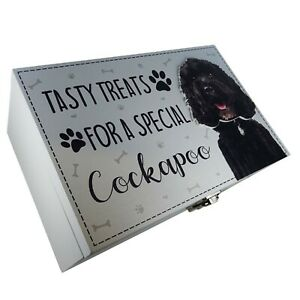 Cockapoo Brown Dog Treats Food Storage Container Holder Biscuits Barrel Wood Box