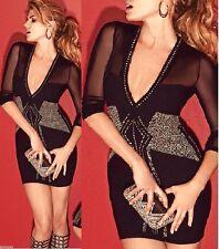 NWT Bebe Dress black gold stud v mesh back cutout long sleeve top S small luxury