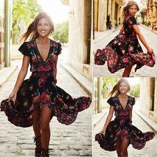 Summer Womens Vintage Boho Long Maxi Evening Party Beach Dress Floral Sundress