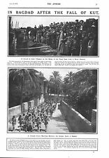 1917 ANTIQUE PRINT - WW1- IN BAGHDAD AFTER THE FALL OF KUT