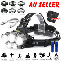 LED Head Torch Flashlight Headlamp Headlight 18650 USB Rechargeable Camping Fish