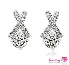 Cubic Zirconia Silver Plated Costume Earrings