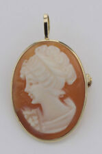 14kt Yellow Gold Hand Carved Italian Cameo Pin / Pendant #Papps9. Lot 20161848