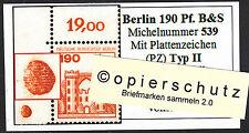 ❷❾  Berlin B&S 539 PZ Typ II Plattenzeichen Ecke 1 Eckrand 1 Bogenecke OL RAR