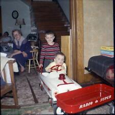 Kid Boy Drives Pedal Car Into Radio Super Toy Wagon Vintage 1957 Negative Photo