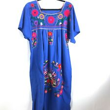 Vintage Embroidered Oaxacan Mexican Kaftan Mui Mui House Dress Floral Blue