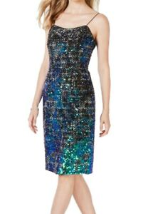 Adrianna Papell Women's Sheath Dress Green US Size 6 Plaid Sequined $199 428