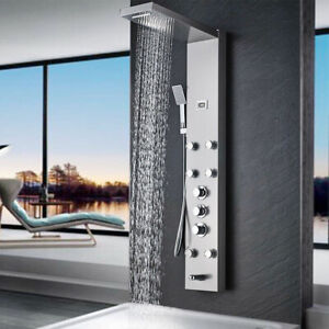 Thermostatic Shower Panel Tower Stainless Steel Shower System Massage Jet Nickel
