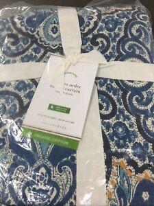 Pottery Barn, NWT, Blue Multi Beale Paisley Organic Shower Curtain #788