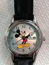 Disney (MC0075) Sii Mickey Mouse Analog Face Genuine Black Leather Strap Watch!
