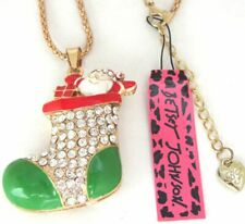 Betsey Johnson Shiny crystal/enamel Christmas boots pendant Necklace#Sd08