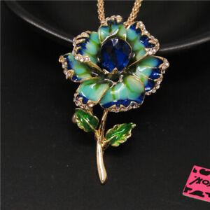 New Betsey Johnson Blue Enamel Beautiful Flower Crystal Pendant Women Necklace