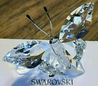 Swarovski Crystal Butterfly on Frosted Leaf Figurine, w/ Blue Iridescent Eyes