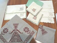 Mixed Collection of 14 Antique linen cocktail napkins