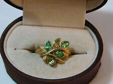 Vintage AVON Gold tone Green Leaves Marquise Rhinestone sz 7.5 Ring 4d 43