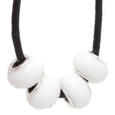 20x Hot Sale White Ceramic Charms Jewelry Spacer Beads Fit European Bracelets J