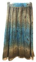 Peter Nygard Elegant Silk Lined Skirt Elastic Waist Teal Brown Tan Gold Size M