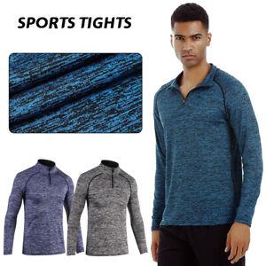 Laufshirt Herren Half Zip Atmungsaktiv Sportshirt Sweatshirt Langarm Running Gym