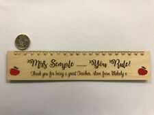 Personalised engraved teacher thank you wooden birch plywood apple ruler gift