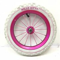 "Complete 12"" Front Bicycle Pink Wheel w/ White Tire 12 1/2"" X 2 1/4""  Bike #F63"