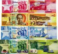 GHANA - Lotto Lot 4 banconote 1/2/5/10 Cedis - FDS UNC