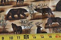 By 1/2 Yd, Dark-Brown Wolf Bear & Moose on Brown Quilt Cotton, Cranston N2475