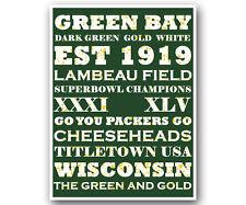 "Green Bay Packers Art Poster NFL Football Subway Print 12x16"""