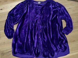 Vintage Rayon Velvet Ladies Plus Size Purple Long Sleeve Blouse Size 22