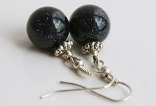 Handcrafted Black Night of Cairo Sparkly Genuine Semi-precious Earrings Gift