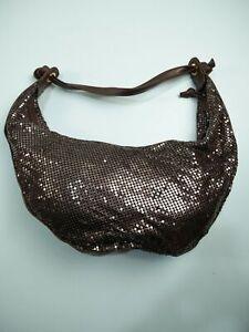 WOMENS BUENO LARGE BRONZE METAL CHAIN HALF MOON SHOULDER MESSENGER HANDBAG BAG