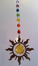 PEWTER SUN SHAPE made with Swarovski golden crystal sphere rainbows