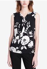 Calvin Klein Knot Neck Twist Sleeveless Top Floral Printed Black White S $49