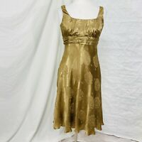 Evan-Picone 8 Dress Gold Metallic Shimmer Floral Embossed Party Cocktail #a