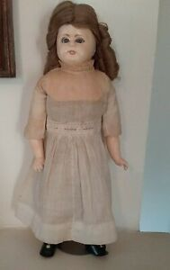 Pretty Antique Composition Girl Doll, Blue Glass Sleep Eyes & Ringlet Curls 12""