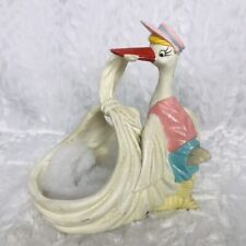 Stork Baby Ceramic Basket Vintage Pink Hat Vest Glitter Basket Nursery Decor