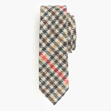 New J Crew Necktie English Wool Tie Plaid Multicheck Brown Beige Red Green  NWT