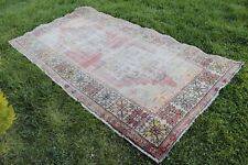 "Vintage Handmade Distressed Turkish Oushak Wool Red Area Rug Carpet 102""x52"""