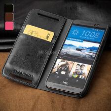 HTC One M9 M9s Echtleder Etui Flip Case Tasche Hülle Zubehör Handy Leder Schwarz