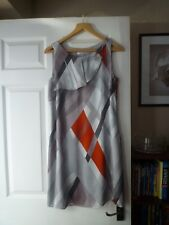 "M&S ""Autograph"" Size 12 Sleeveless  Coral Grey Silver lined Dress."