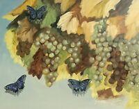 Original Oil Painting Vineyard Butterfly garden Fine Art Listed By Artist USA