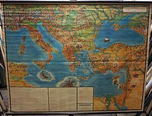 Bildkarte  Reisen des Apostels Paulus Poster Rollbild Lehrtafel Schulwandkarte