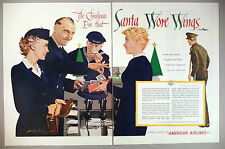 American Airlines 2-Page PRINT AD - 1952 ~~ stewardess, Navy, Christmas