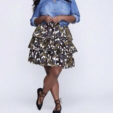 1399dd6f98 NWOT Lane Bryant Woman's Size 26/28 Skirt Tiered Camo Ruffle Elastic Waist