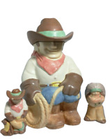 Vintage Treasure Craft Cowboys and Idians Cookie Jar w Salt Pepper Shakers