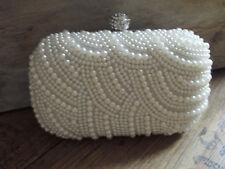 Damen Tasche Luxus Glamour Clutch Abendtasche Brauttasche mit Perlen Ivory
