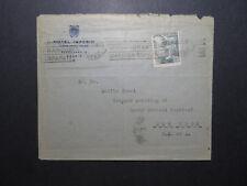 Spain 1940 Hotel Imperio Cover to USA / Improvised Censor / Fold - Z11832