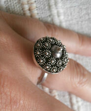 ANELLO ARGENTO TIBET CON MARGHERITINE MISURA 13-53 silver ring- j2