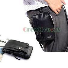 Men PU Leather Hook Shoulder Messenger Belt Fanny Pack Pouch Waist Leg Drop Bag