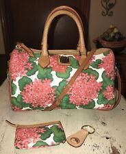 Dooney & Bourke Pink Hydrangeas Crossbody Satchel w/Keychain & Coin Purse